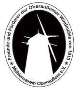 Die Grafik zeigt das Logo des Mühlenvereins Oberaußem e.V. in schwarz/weiss